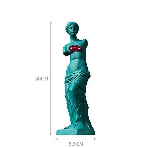 THREE Venus Statue Göttin Büste Römische Mythologie Keramik Büro Clubhaus Wohnzimmer Dekoration Hochzeitsgeschenk, Deep Blue