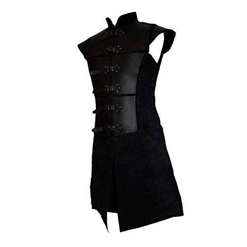 Heflashor Herren Steampunk Gothic Waistcoat Weste Männer Vintage Mittelalter Viktorianischen Coat Weste Kostüm Oberteile für Halloween Cosplay Party Kostüm