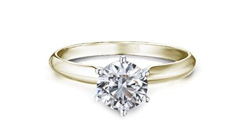 gelb gold Diamant Ring 1 Karat Solitär mit Diamond grading Bericht-55 (17.5) (Diamant-ring Gelb-gold)