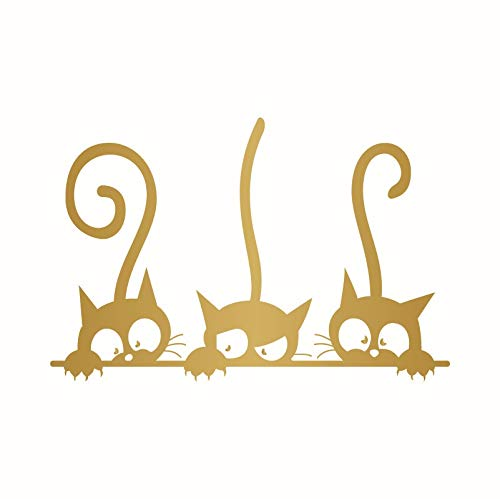 YOUTHLIKEWATER Wandaufkleber Spiegel 2pcsMirror Aufkleber Schnitzen Kreative DREI Lustige Kätzchen Wandaufkleber Wohnzimmer Tv Wand Kinder Schlafzimmer Dekorative Aufkleber Selbstklebend (Size : 13) - Lustige Kätzchen