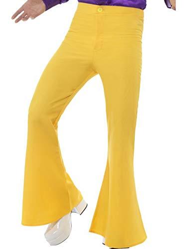 n Männer 70er Jahre Disko Tanz Kostüm mit Schlaghose, perfekt für Karneval, Fasching und Fastnacht, XL, Gelb ()