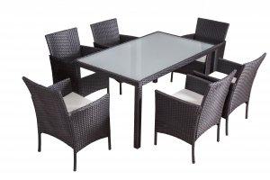 Jet-Line Mexico table de salon de jardin en polyrotin noir et 1 table à rallonge et 6 chaises