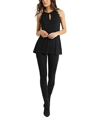 Lipsy Damen T-Shirt mit Schlüsselloch-Ausschnitt und Spitze Schwarz EU 40 (UK 12) (Schlüsselloch-ausschnitt)
