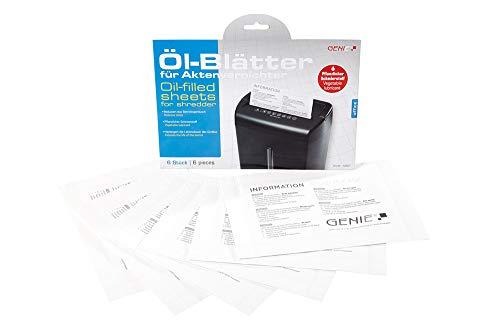 Genie Pflegekit (Ölblätter/Ölpapier und Cleaning-Kit für Aktenvernichter, geeignet für sämtliche Schnittarten, Geräte, Hersteller) 6er Pack