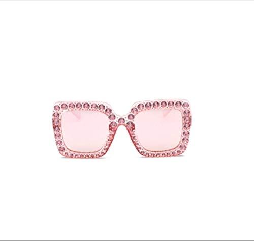 GengGeng GENG Women es Square Large Frame Full Diamond Sunglasses Faces Small Glasses Wind Diamond Sunglasses,5