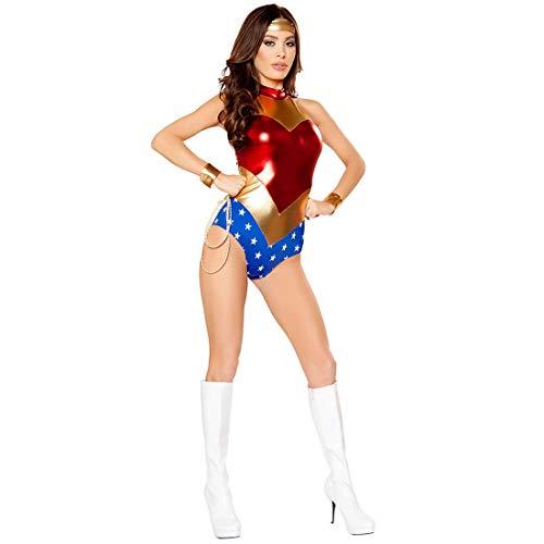 HOOLAZA Frauen Halloween Superwomen Supergirl Cosplay Kostüm Jumpsuit Einteilige Bodysuits Bühnenkostüm