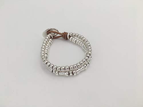 Imagen de pulsera zamak, pulsera cuero, leather bracelet, boho brazelet, uno de 50 style bracelet, woman bracelet alternativa