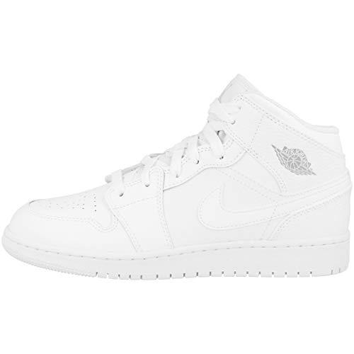 8ef365f5faf629 Nike Jungen AIR Jordan 1 MID (GS) Basketballschuhe Mehrfarbig Pure Platinum-White  109