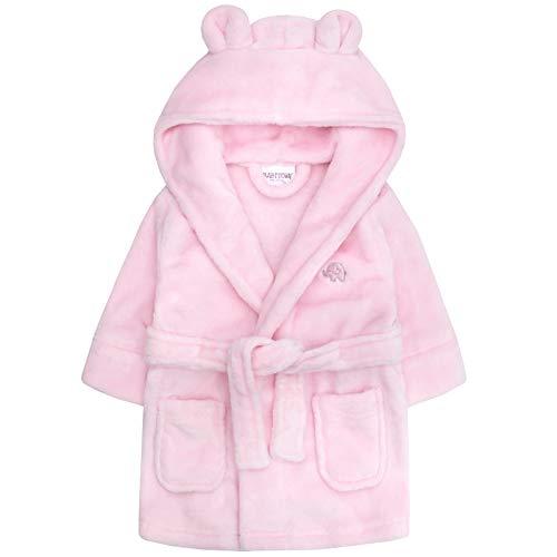 Lora Dora Baby Mädchen Kapuzen Fleece Bademantel Soft Bademantel Größe 6-24Monate Gr. 92, Pink - Elephant (Baby-mädchen Bademantel)