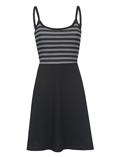 Pussy Deluxe Pretty Stripes Kleid Schwarz Allover, Größe:S