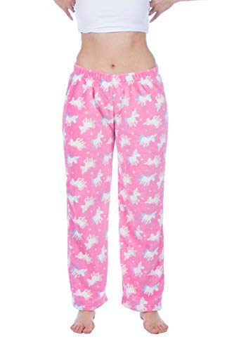 Damen Weich Fleece Pyjama Hosen Pinguin, Einhorn, Fox oder Eule Motiv. Größen 8-10(EU 36-38) 12-14 EU (40-42) 16-18(EU 44-46) - Einhorn, EU 44/46 (Pyjama-hose Pinguin)