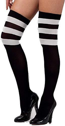 Damen Sexy Schwarz Weiß Gothik Dunkel Cheerleader Halloween Kniestrümpfe Kostüm Kleid Outfit Zubehör Halterlos ()