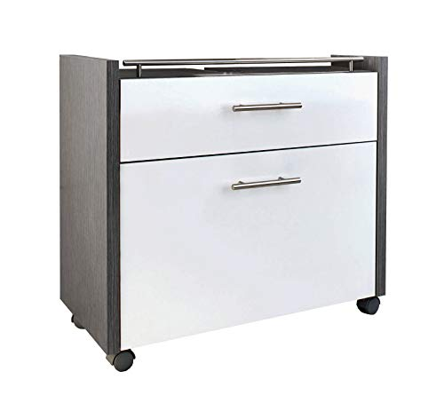 Schildmeyer Waschbeckenunterschrank 133074 Trient, 67 x 35 x 60,5 cm, weiß glanz / esche grau Dekor