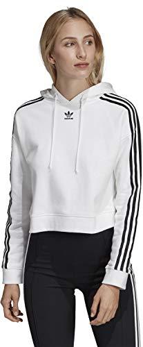 adidas Originals Damen Sweatshirt mit Kapuze Cropped Hoodie Weiss (10) 38
