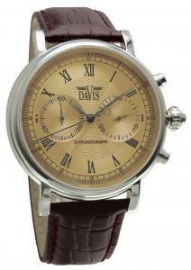 Davis 857 Men's Analog Quartz Watch with Chronograph and Brown Leather Strap