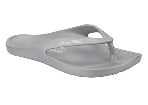 Poolrunner One Damen | Herren Bequeme Badesandalen | Zehentrenner Grey 41 EU