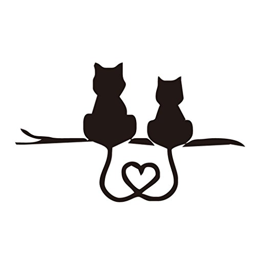SOMESUN Auto Aufkleber Vinyl Grafik Seite 3D niedliche Katze Körper Aufkleber für Fahrzeuge (Schwarz) (Grafik Schwarz)