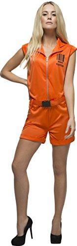 Smiffy's 24634S - Fever Damen Sträfling-Königin Kostüm, Größe: 36-38, (Orange Kostüme Damen Für Jumpsuit)