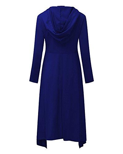 BIUBIU Damen Asymmetrisch Hoodie Langarm Pullover Jumper Pulli Sweatshirt Jumper Große Größen Blau