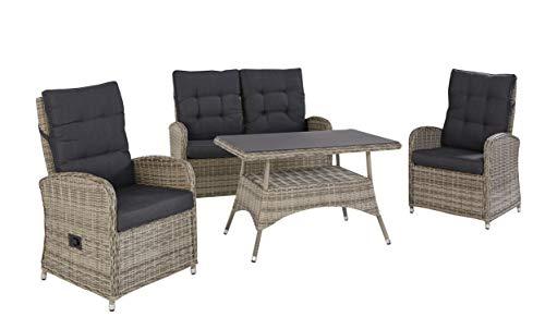 Wholesaler GmbH LC Garden Lounge Set Sitzgruppe Monaco aus Polyrattan in grau inkl. Polste