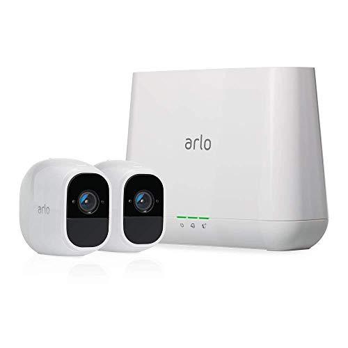Arlo Pro2 Smart Home 2 HD-Überwachungskameras & Alarmanlage (130 Grad Blickwinkel, kabellos, WLAN, Bewegungsmelder, Indoor/Outdoor, Nachtsicht, wetterfest, 2-Wege Audio) weiß, VMS4230P