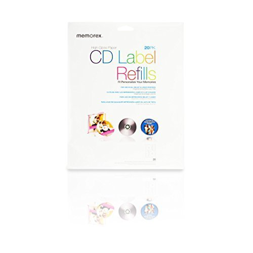 20-labels-white-photo-gloss-cd-labels-1440dpi-for-inkjets-by-memorex