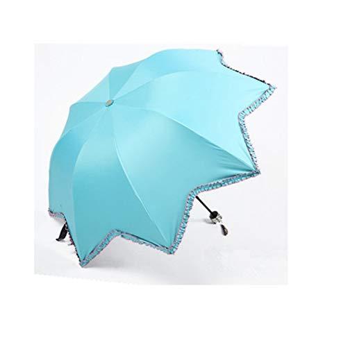 Erecqb Regenschirm Schwarzer Beschichtung Sonnenschirm Ahornblatt Regenschirm Blume Grenzbogen Spitze DREI Falten Uv Schutz Regenschirm, A
