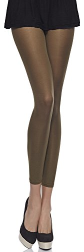 Merry Style Damen Mikrofaser Leggings Clara 40 DEN (Khaki, M (36-40))