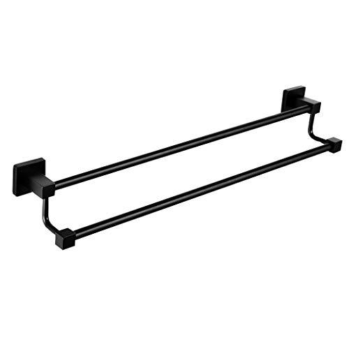 Gx multifunzione portasciugamani barra porta asciugamani a parete in acciaio inox 304 con doppia asta, portapacchi per rack di perforazione a base quadrata, nero prodotti per la casa