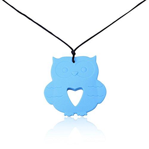 Necklace Home Silikon Schmuck Charakter Eule Anhänger Halskette (Color : Blue)