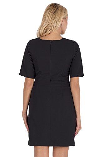Clea Bezauberndes Kleid mit einem trapezförmigen Ausschnitt Schwarz