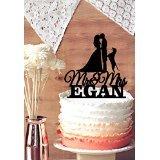 Personalisierte Namen und color-mr & Mrs Tortenaufsatz, Braut und Bräutigam Silhouette, Hochzeit Tortenaufsatz Kuchenaufsatz, Hund, Tortenaufsatz