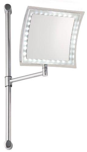Sanwood Tessa Wandspiegel an Stange höhenverstellbar, mit Beleuchtung in 3 Helligkeitsstufen, 5-fach Vergrößerung