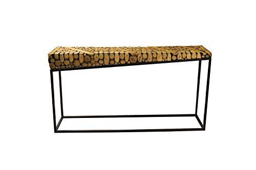 Meubletmoi Konsolentisch, rechteckig, aus exotischem Holz und Metallgestell - Design exotisch & zeitgenössisch - Anya