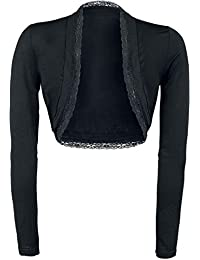 Gothicana by EMP Can I Play with Madness Mujer Bolero Negro, mit Spitze Regular