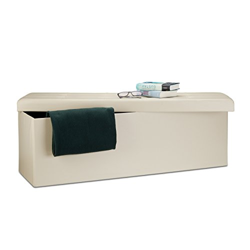 Relaxdays 10019045_550 sgabello pieghevole cassapanca pouf, similpelle, crema, 114 x 38 x 38 cm