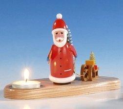 Luz del candelero + del té con la Navidad del padre, pintada 12 cm