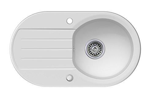 Granitspüle weiß, 1-Becken, Drehexcenter + Siphon, Spülbecken, Küchenspüle, Schrankbreite ab 45 cm