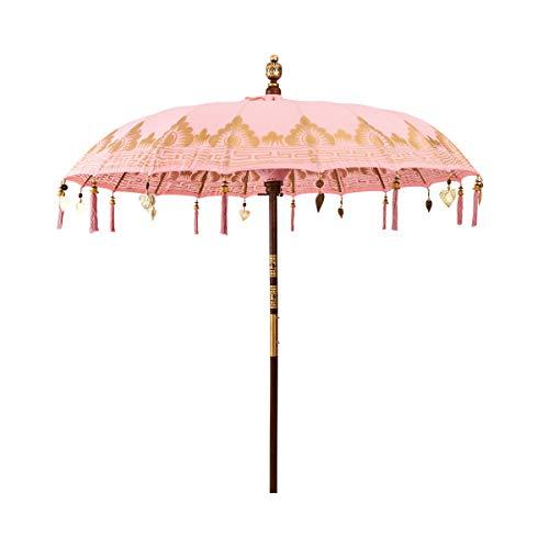 BUTLERS Oriental Lounge Sonnenschirm Rosé Ø 180 cm - Sonnenschutz aus 100{0120776c6364b4d8b73a153c220300c70b1606b78c2e1ae7e1d12966e1c3e35f} Baumwolle - Gartenschirm, Terrassenschirm