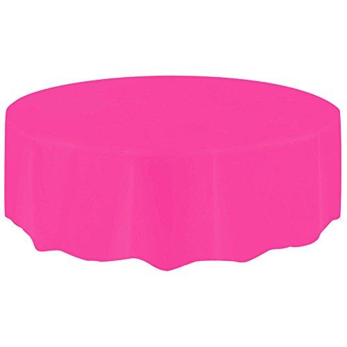 Sallyohno Wachstuchtischdecke Wachstuch Wachstischdecke Tischdecke Tischdecke einfarbig Geburtstag Rund Wasserdicht und öldicht Staub Einweg Kunststofftischdecke (Hot Pink, 2.13M) (Tischdecke Pink Hot)