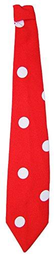 Krawatte 50er Jahre mit Punkten Rot Weiß - Tolles Accessoire zum Fifties Kostüm an Karneval oder Mottoparty