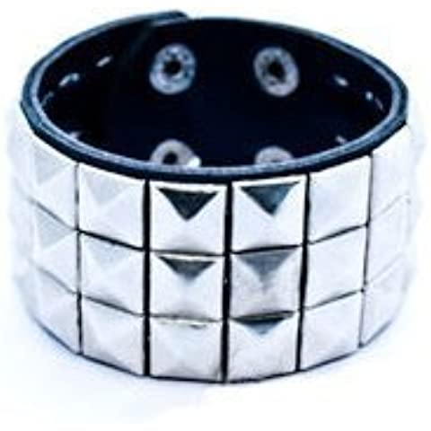 Triple Silver Studded Wristband Punk Rock by Private Island