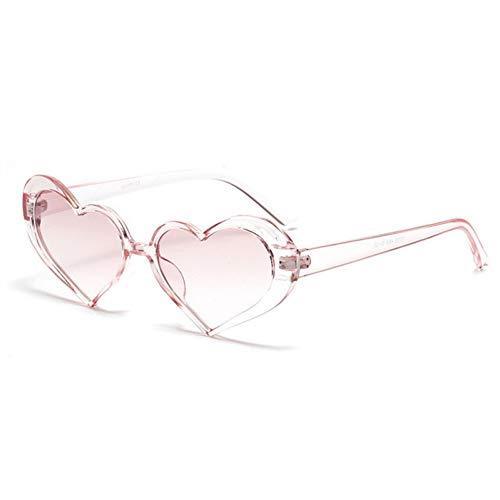 GJYANJING Sonnenbrille Herz Sonnenbrille Frauen Mode Retro Transparente Linse Design Rosa Sonnenbrille Shades Mädchen Liebe Herzförmige Brille