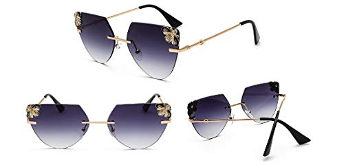 YUZHIYU Vintage Alloy Ladies Sunglasses Rimless HD Lenses with Case UV Protection Driving Cycling Eyewear C4