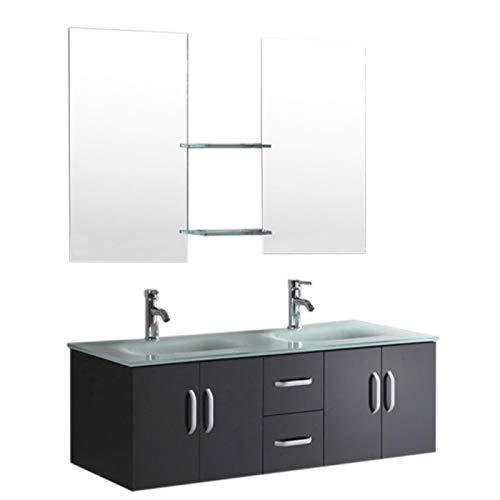 Mobile arredo bagno arredobagno modello ice 150 cm sospeso rubinetteria lavabo nero laccato e due lavabi inclusi