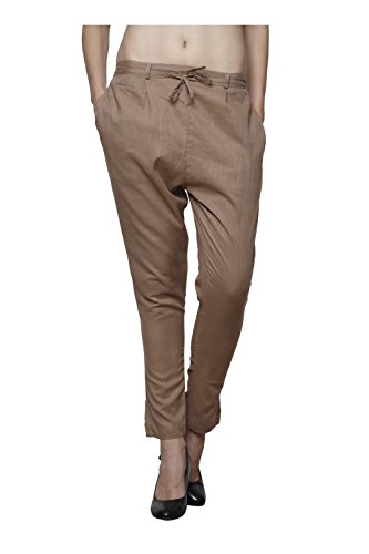 Pistaa Women`s Cotton Slub Biscuit Color Best Comfertable Plain Readymade Formal Ethnic Cigratte Pant Trouser Bottom