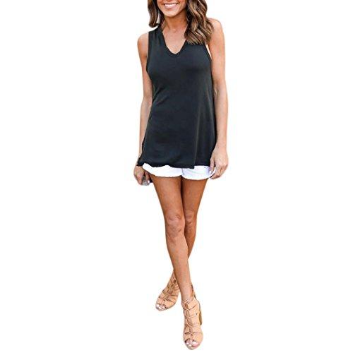 Bekleidung Longra Damen Sommer T-Shirt Mode Frauen Kapuzen ärmellose Weste Tops Shirt Bluse lässige Tank T-Shirt (Asian XL EU40, Black) (Detail Falte Cardigan)