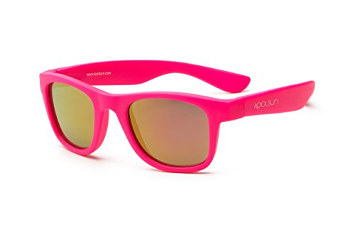 Koolsun Sonnenbrille Kinder Wave Fashion 3+ | Neon Pink Verspiegelt | 100% UV Schutz | Optical Clas 1, Cat. 3 | flexibel & unkaputtbar