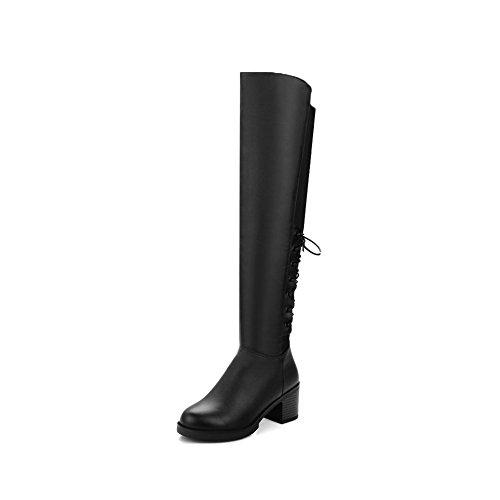 AgooLar Damen Rein Blend-Materialien Mittler Absatz Rund Zehe Stiefel mit Metallisch, Rot, 35