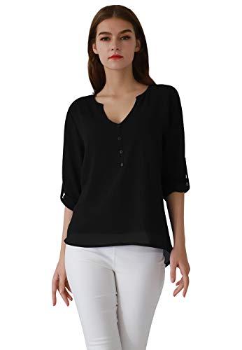 OMZIN Damen Langarmshirt V Ausschnitt Oberteile Chiffon Henley Shirt Elegante Blusen Schwarz M